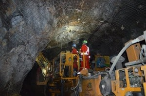 """Image from Facebook Timeline: Ministry of Northern Development and Mines (Ontario, Canada). Original title: """" Going underground: Kidd Operations (Glencore) miners secure the ceiling of the Kidd Mine in Timmins."""""""