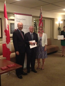 Photo from family archive: Dr Fergal Nolan awarded with a Queen's Diamond Jubilee Medal. Left to right: Hon Reza Moridi, Minister of Research and Innovation; Dr Fergal Nolan, Hon. Kathleen Wynne, Premier of Ontario