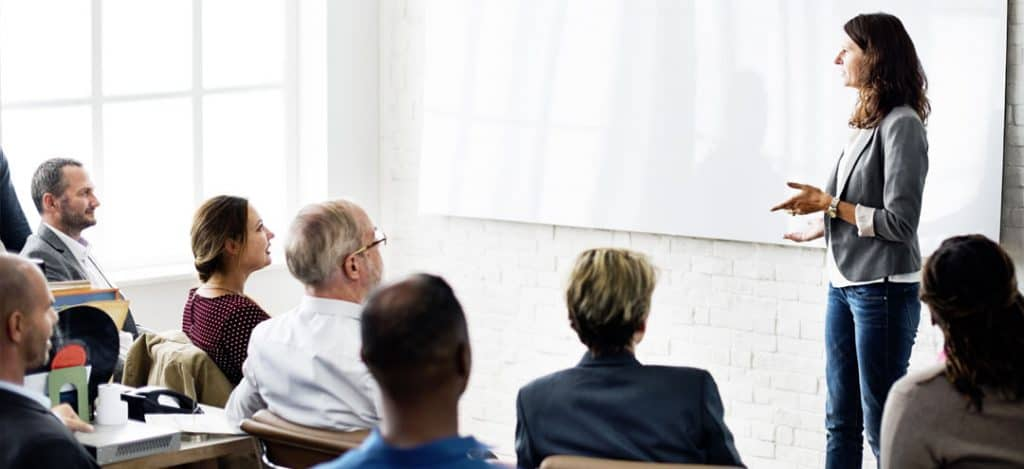 Adult Students learning in a classroom